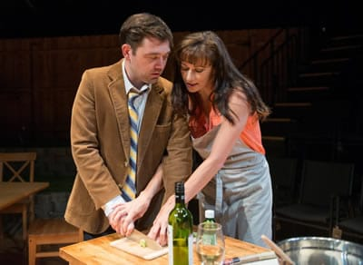 Tom Coiner as Jeremy Cook and Helen Anker as Beth in The Full Catastrophe by Michael Weller at CATF 2015 (Photo: Seth Freeman)