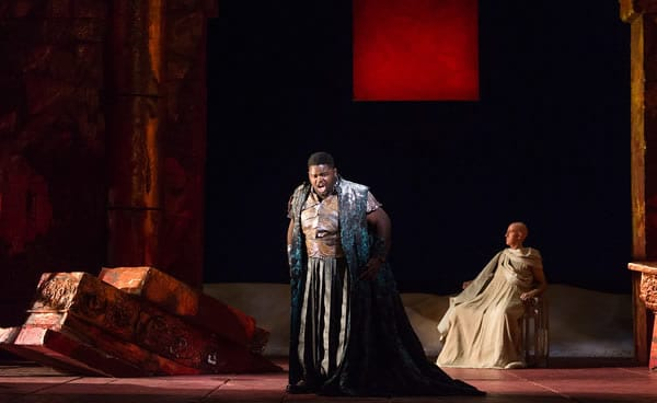 John Holiday as Caesar and Thomas Michael Allen as Cato in The Glimmerglass Festival's 2015 production of Vivaldi's Cato in Utica. (Photo: Karli Cadel)