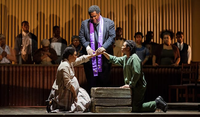 (l-r) Lost in the Stars, Glimmerglass Festival 2012: Brandy Lynn Hawkins as Irina, Eric Owens as Stephen Kumalo and Makudupanyane Senaoana as Absalom (Photo: Karli Cadel)