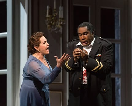 Melody Moore as Lady Macbeth and Eric Owens as Macbeth in The Glimmerglass Festival's 2015 production of Macbeth. (Photo: Karli Cadel)
