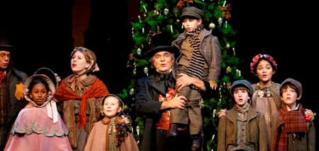 Ed Gero (center) with cast of the 2011 Christmas Carol