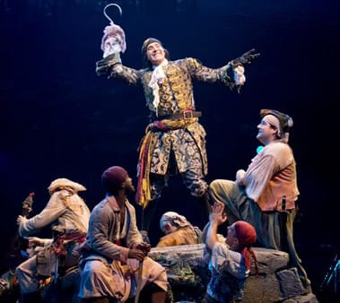 Stephen Carlile as Capt. Hook and his pirates in PETER PAN at the Threesixty Theatre (Photo: Jeremy Daniel)