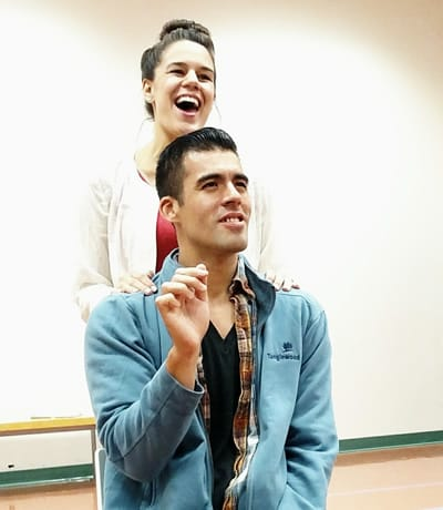 Ashley Cutright and Luis Alejandro Orozco rehearse for their shared role in As One
