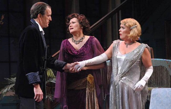 David Bliss (Matt Sullivan), Judith Bliss (Valerie Leonard), and Myra Arundel (Beth Hylton) in Olney Theatre Center's production of the Noel Coward comedy HAY FEVER. (Photo: Stan Barouh)