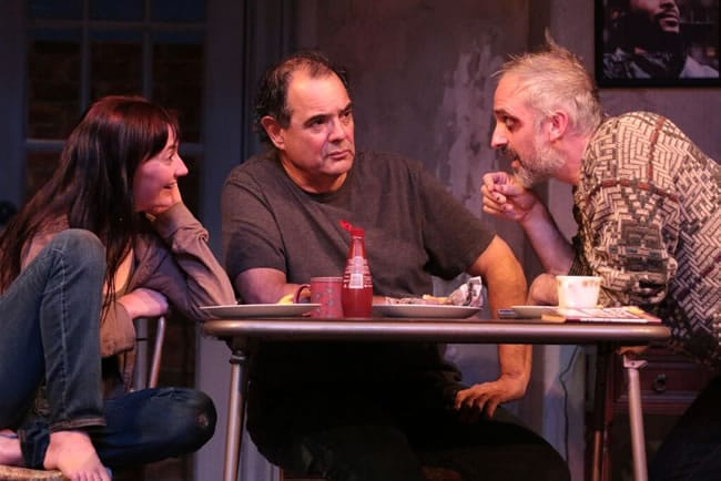Katie deBuys, Edward Gero and Gregory Linington in The Night Alive at Round House Theatre (Photo: Cheyenne Michaels)