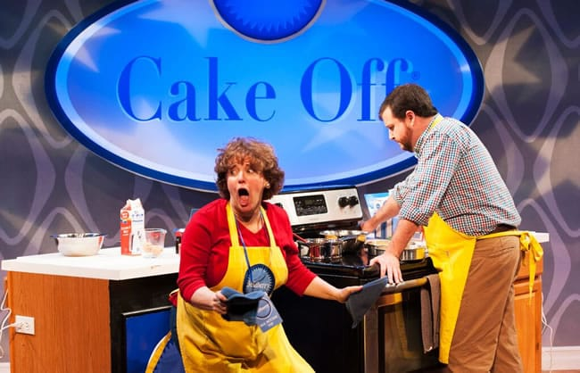 Sherri L. Edelen and Todd Buonopane in Cake Off at Signature Theatre (Photo: Margot Schulman)