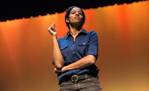 Anu Yadev as Rhonda in 'Capers at Forum Theatre (Photo: Britt Olsen-Ecker Photography.