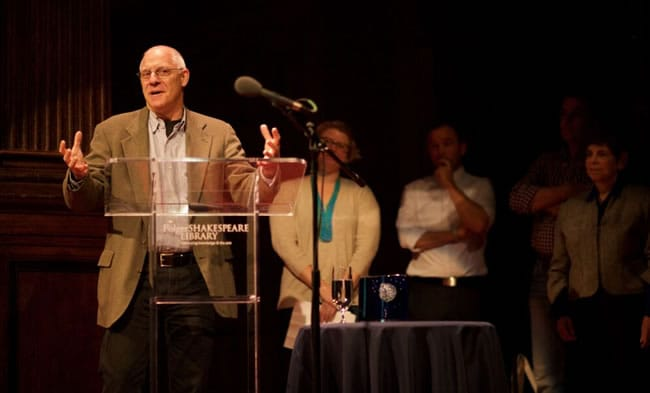 David S. Kessler encouraging the Folger audience to be outstanding supporters of Washington theatre (Photo: Ryan Maxwell)