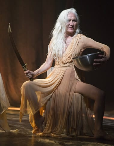Olwen Fouéré as Nameless Woman in Yaël Farber's Salomé at the Shakespeare Theatre Company. (Photo by Scott Suchman)