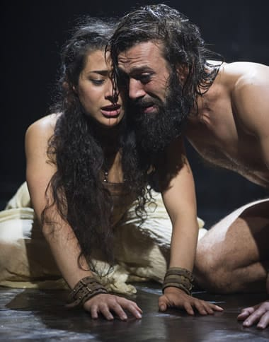 Nadine Malouf as Salomé and Ramzi Choukair as Iokanaan in Yaël Farber's Salomé at the Shakespeare Theatre Company. (Photo: Scott Suchman)
