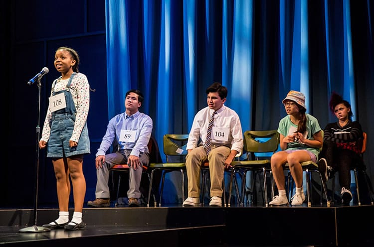 (l-r) Johannah Easley, Sean Phinney, Leo James, Molly Yeselson and Ana Christine Evans in Akeelah and the Bee at Arena Stage at the Mead Center for American Theater (Photo: Dan Norman)