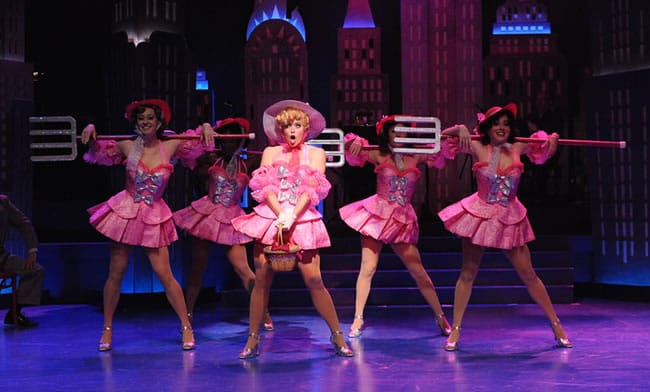 Lauren Weinberg as Miss Adelaide and the cast of Olney Theatre Center's production GUYS AND DOLLS. (Photo: Stan Barouh)