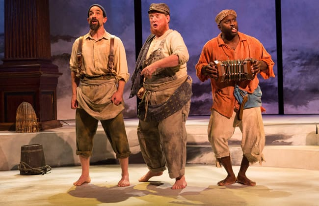 Fishermen (from l to (l-r) Jonathan Toppo, Michael J. Hume, and Cedric Lamarin as Fishermen in Pericles by Oregon Shakespeare Festival at Folger Theatre (Photo: Teresa Wood)