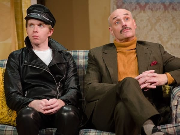 (l-r) Matthew Aldwin McGee and Jim Jorgensen in Soon the presence of the young boarder causes Kath and her class-conscious brother Ed (Jim Jorgensen) in Entertaining Mr. Sloane (Photo: Johannes Markus)