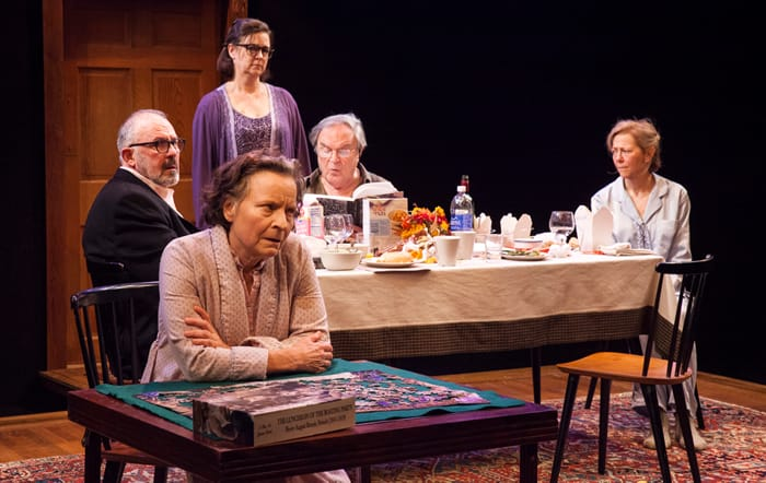 (l-r) Sarah Marshall, Elizabeth Pierotti, Rick Foucheux, Ted van Griethuysen, and Kimberly Schraf in The Apple Family Cycle: Sorry at Studio Theatre. (Photo: Allie Dearie)
