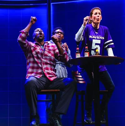 (l-r) Anthony Holiday, Eddie Ray Jackson and Jenny Certein in X'z and O's at Center Stage (Photo: Richard Anderson)