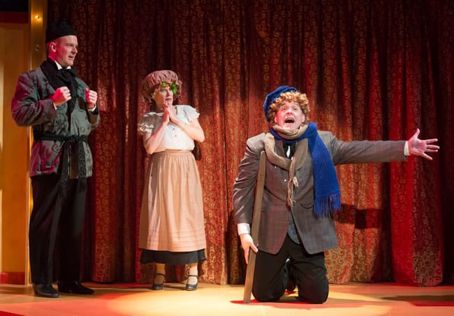 (l-r) Peter Boyer, Tracey Stephens and Michael Sharp in A Broadway Christmas Carol at MetroStage (Photo: Chris Banks)
