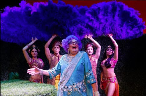 Dame Edna with cast of Dame Edna's Glorious Goodbye (Photo: Craig Schwartz)