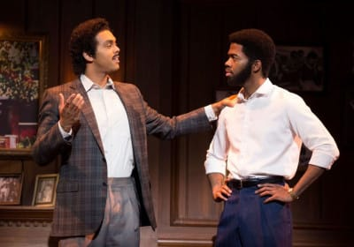 (l-r) Jesse Nager as Smokey Robinson, Julius Thomas II I as Berry Gordy in Motown The Musical First National Tour (Photo: Joan Marcus)