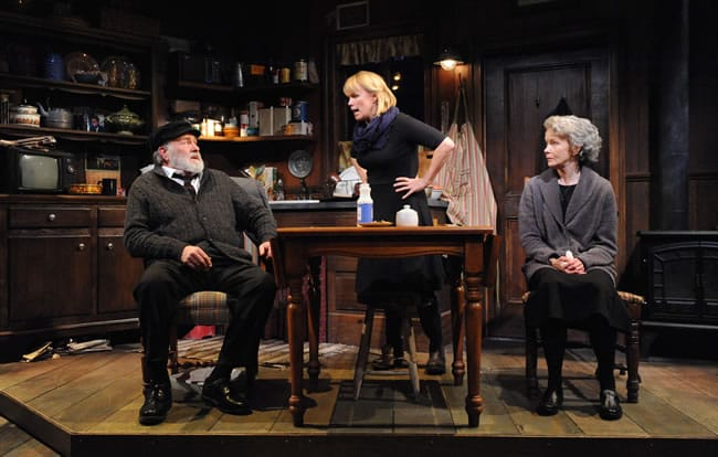 Wil Love as Tony, Tim Getman as Anthony and Helen Hedman as Aoife in John Patrick Shanley's Outside Mullingar at Everyman Theatre (Photo: Stan Barouh)