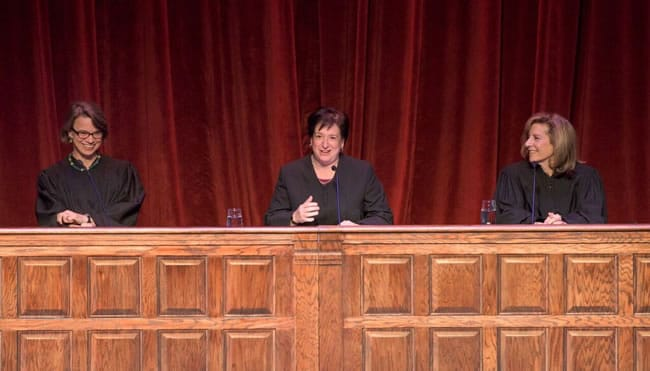 (l-r) Judge Cornelia T.L. Pillard of the U.S. Court of Appeals for the D.C. Circuit and Justice Elena Kagan of the U.S. Supreme Court at the Shakespeare Theatre Company Bard Association's Trial of Salomé. (Photo: Kevin Allen)