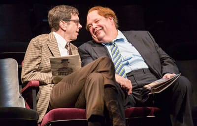 (l-r) Robert Stanton as Moon and John Ahlin as Birdboot in the Shakespeare Theatre Company's production of The Real Inspector Hound, directed by Michael Kahn. (Photo: Scott Suchman)