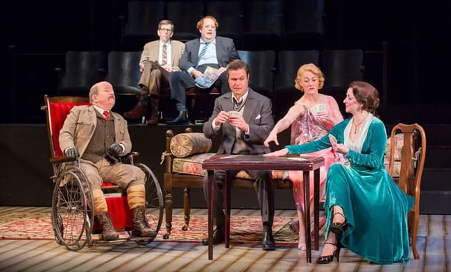 The cast of the Shakespeare Theatre Company's production of The Real Inspector Hound, directed by Michael Kahn. Photo by Scott Suchman.