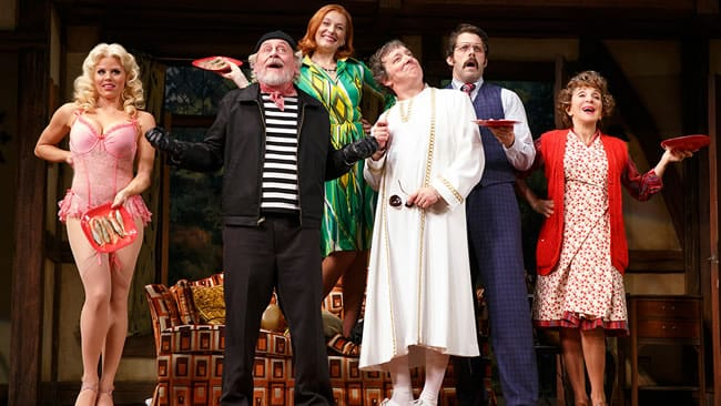 Megan Hilty as Brooke, Daniel Davis as Selsdon, Kate Jennings Grant as Belinda, Jeremy Shamos as Frederick and Andrea Martin as Dotty in Noises Off (Photo: Joan Marcus)