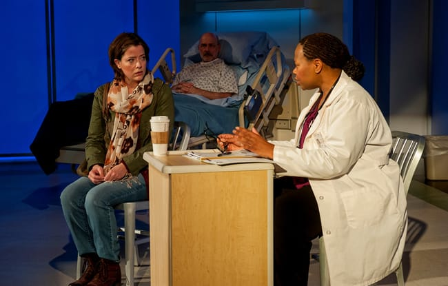 Megan Anderson as Raina, Mitchell Hébert as Lou and Alice M. Gatling as Dr. Badu in Under the Skin at Everyman Theatre (Photo: ClintonBPhotography)