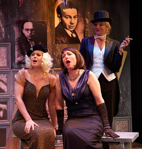 (l-r) Meghan McCall as Hedi Schoop. Jennifer Suess as Lotte Lenya, and Karin Rosnizeck as Kabarett Hostess in Kabarett and Cabaret at In Series (Photo: Angelisa Gillyard)