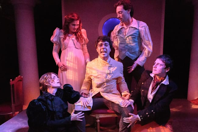 (l-r) Susan Derry, Catherine Purcell, David Landstrom, Alan Naylor, Sam Ludwig in Monsters of the Villa Diodati at Creative Cauldron (Photo: Keith Waters, Kx Photography)