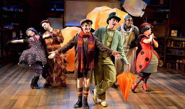 (l-r) Suzanne Lane, Joshua Simon, Eli Schulman, Jimmy Mavrikos, Tobias Young and Emily Zicler in James and the Giant Peach at Adventure Theatre MTC (Photo: Bruce Douglas)