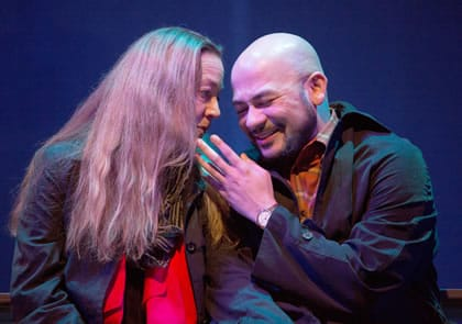 Amy McWilliams and Frank Britton in When the Rain Stops Falling at 1st Stage. (Photo: Brittany Diliberto)