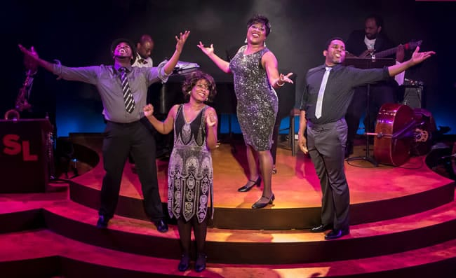 (l-r) Rayshun LaMarr, Lori Williams, Roz White, Anthony Manough in Shake Loose at MetroStage (Photo: Chris Banks)