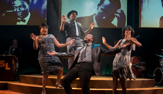 (l-r) Roz White, Rayshun LaMarr, Anthony Manough, Lori Williams in Shake Loose at MetroStage (Photo: Chris Banks)