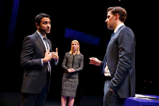 Sanjit De Silva, Claire Danes, and John Krasinski in Dry Powder at The Public Theater (Photo: Joan Marcus)