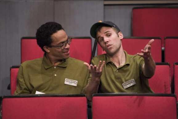 (l-r) Thaddeus McCants (Avery) and Evan Casey (Sam) in The Flick at Signature Theatre (Photo: Margot Schulman)