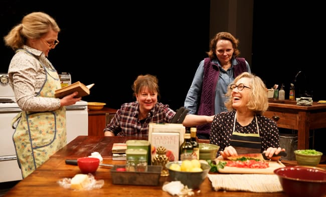 (l-r) Lynn Hawley, Amy Warren, Maryann Plunkett, and Meg Gibson in Hungry, Play One of The Gabriels: Election Year in the Life of One Family, written and directed by Richard Nelson, at The Public Theater. (Photo: Joan Marcus)