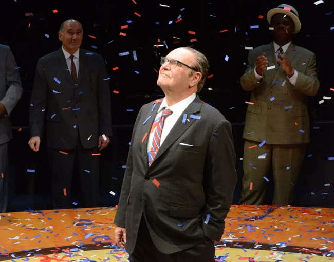 Jack Willis as President Lyndon Baines Johnson (with Lawrence Redmond and Craig Wallace) in All the Way at Arena Stage at the Mead Center for American Theater (Photo: Stan Barouh)