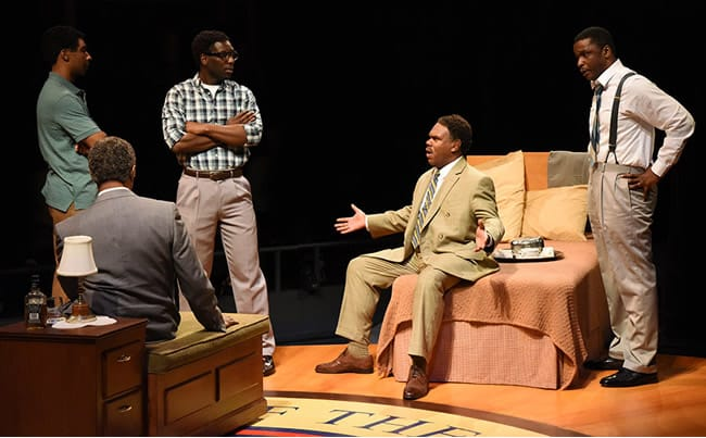 (l-r) aBen Early as Stokely Carmichael, David Emerson Tony as Roy Wilkins, Desmond Bing as Bob Moses, Craig Wallace as Ralph Abernathy and Bowman Wright as Martin Luther King, Jr. in All the Way at Arena Stage at the Mead Center for American Theater. (Photo: Stan Barouh)
