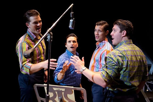 (l to r) Keith Hines, Aaron De Jesus, Drew Seeley, and Matthew Dailey in Jersey Boys at the National Theatre (Photo: Jeremy Daniel)