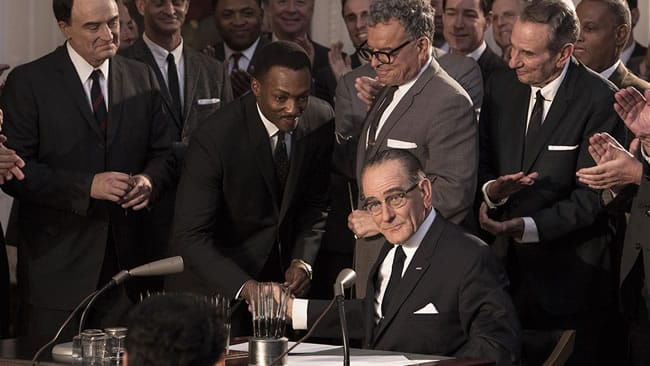 Bryan Cranston as President Lyndon Baines Johnson and Anthony Mackie as Dr. Martin Luther King, Jr (Photo: HBO Films)