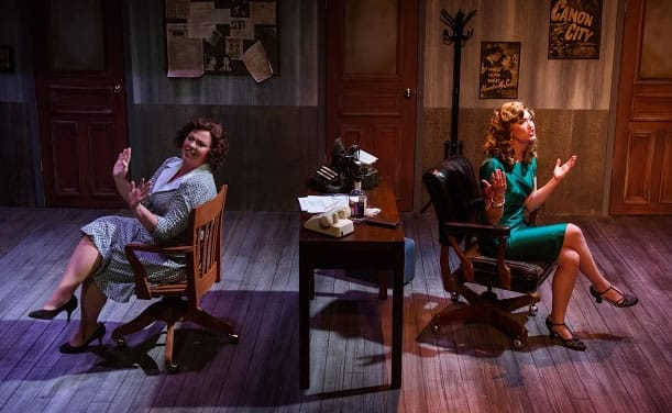 (l-r) Katie McManus as Oolie and Katie Keyser as Gabby in City of Angels at NextStop Theatre Company. (Photo: Traci J. Brooks Studios)