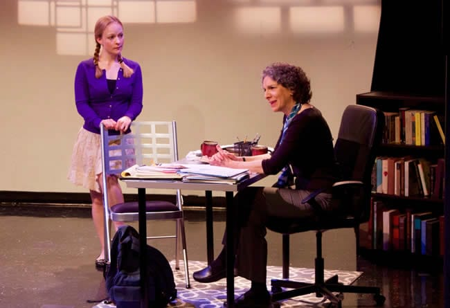 Sue Struve as Ruth Steiner and Lizzi Albert as Lisa in Collected Stories at Peter's Alley Productions (Photo: David Jung)