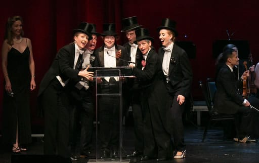 Undoubtedly the best dressed cast at the 2016 Helen Hayes Awards, the cast if IMPOSSIBLE! a Happenstance Circus accepting their Ensemble Award (Photo: Daniel Schwartz Photography