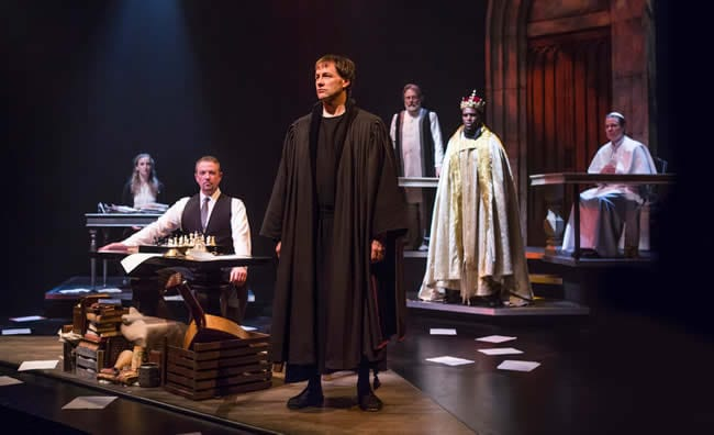 Fletcher McTaggart as Martin Luther and the cast of Martin Luther on Trial (Photo courtesy of Fellowship for Performing Arts)