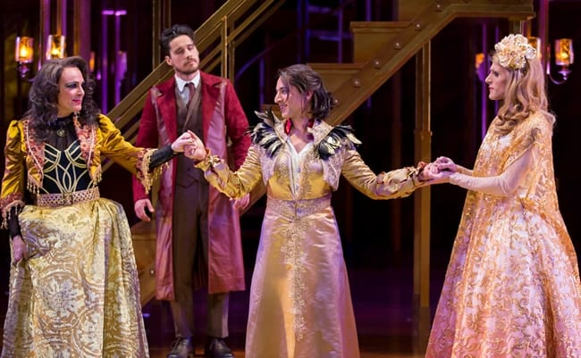 Rick Hammerly as the Contessa, Peter Gadiot as Petruchio, Maulik Pancholy as Katherina, and Oliver Thornton as Bianca in Shakespeare Theatre Company's production of The Taming of the Shrew (Photo: Scott Suchman)