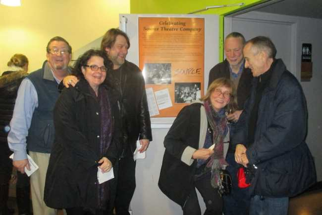 Original Source Theatre members at Source for Constellation's Equus. (l-r) Bill McKenney, Zoe Cowan, Ian Armstrong, Pat Murphy Sheehy (crouching), Keith, and Steven Dawn.