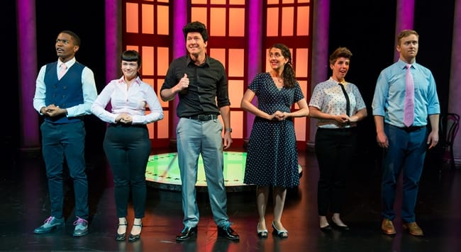 (l-r) Andrew Knox, Marla Caceres, Ryan Asher, Sayjal Joshi, Tyler Davis, Ross Taylor in The Second City's Almost Accurate Guide to America (Photo: Scott Suchman)