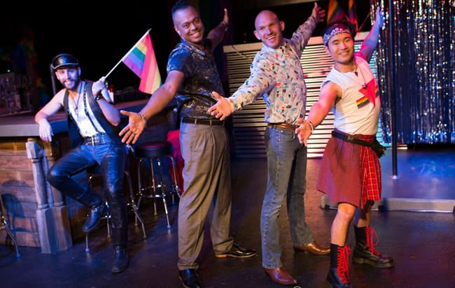 (l-r) Derek Mulhern, Patrick Murphy Doneghy, Aaron Jackson, and Mickey Daniel DaGuiso in Get used to It! from Rainbow Theatre Project (Photo: Alan Eisen)